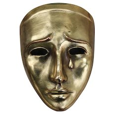 Art Deco Earthenware Mask With Gold Leaf, Signed