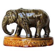 Antique Portuguese Palissy Ware, Elephant Toothpick Holder, Earthenware Majolica