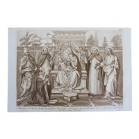 18th Century Etching / Engraving of Madonna with Child and Saints, Italian