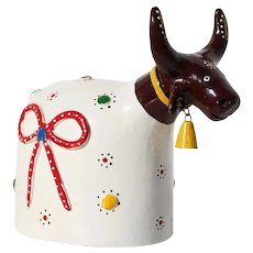 1950s Brazilian, Manuel Eudocio Folk Art, Cow Figurine, Earthenware