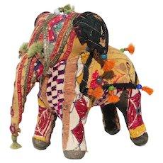 1970s Indian Folk Art Multicolor Patchwork Fabric Elephant Figurine