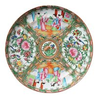 Chinese Export Famille Rose Mandarin Porcelain Plate c. 1800, Antique