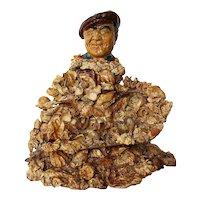 Fisherman Lost at Sea, Mid Century Seashell Art Sculpture