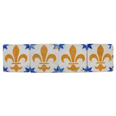 Antique Set of 4 Fleur De Lis Tiles, Portuguese, Tin-glazed Pottery, Earthenware
