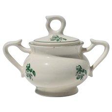 Mid-Century Portuguese Earthenware Floral Rustic Sugar Bowl