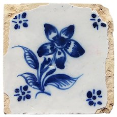 18th Century, Baroque Flower Portuguese Tile, Earthenware
