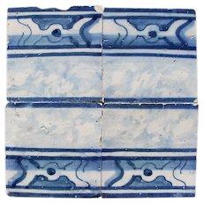 18th Century Antique Portuguese Set of Four Rocaille Tiles