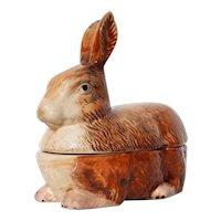 French Majolica Rabbit Pâté Tureen, Michel Caugant
