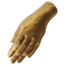 19th Century Life-Size Gilded Brass Hand, La Belle Époque Antique
