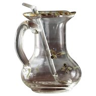 18th Century Portuguese Baroque Altar Hand Blown Glass Cruet with Spoon, Religious