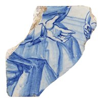 18th Century Antique Portuguese God Hand Tile Fragment