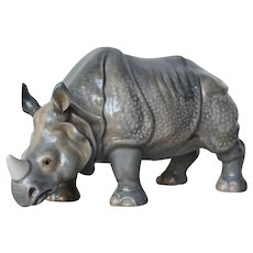 A Continental Gray Porcelain Rhinoceros Figure, Early 20th Century, Antique