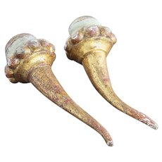 18th Century Portuguese Pair of Baroque Gold Leaf Cornucopia, Horn of Plenty, Religious