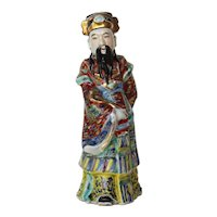 19th Century Qing Dynasty, A Chinese Famille Rose Porcelain Immortal God Figure