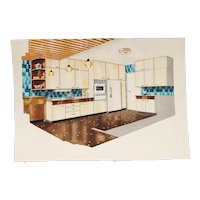 1960s French Interior Gouache Design Project depicting a Kitchen