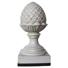 Antique Portuguese Large Artichoke Roof Finial, Creamware, 19th Century