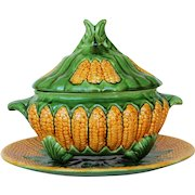 Antique Portuguese Palissy Ware Large Corn Cob Tureen and Platter, Majolica, Caldas Portugal, Barbotine