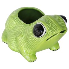 Large Vintage Green Hobnail Frog Planter in the style of Jean Roger