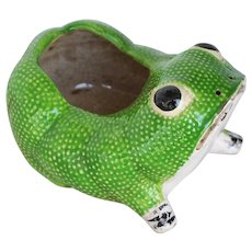Large Vintage Hobnail Frog Planter in the style of Jean Roger, French Majolica