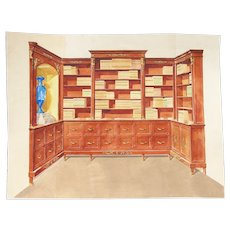 1960s French Interior Gouache Design Project depicting a Home Library