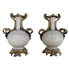 A Antique Pair of Louis XV Gilt Bronze Ormolu Mounted Chinese Celadon Porcelain Vases