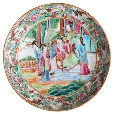 Chinese Export Famille Rose Mandarin Porcelain Saucer c. 1800, Antique