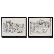1950s Italian Ink on Paper Drawings: Roman Forum and Fontana di Trevi, Signed