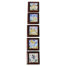 Mid-Century Set of Five Spanish Granada Framed Tiles depicting a Dog, Rabbit, Deer, Stork and a Man
