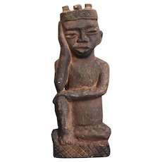 King Statue, Carved Stone Figurine, African Tribal Art