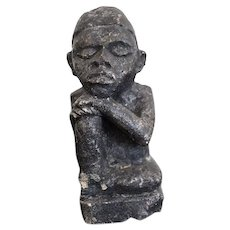 The Thinker Statue, Carved Stone Figurine, African Tribal Art