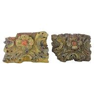 Set of 2 Baroque Altar Fragments, Indo-Portuguese 17th Century, Religious
