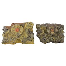 Indo-Portuguese 17th Century Baroque / Pair of Rococo Wood Carved Gilt Altar Ornament, Religious