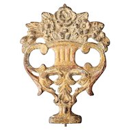 Portuguese 18th Century Baroque Cast Iron Gold Leaf Plaque depicting a Flower Vase, Religious