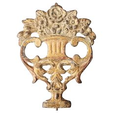Portuguese 18th Century Baroque Cast Iron Gold Leaf Plaque depicting a Flower Vase, Religious