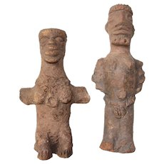 Original - Komaland - Sculpture of a Seated Woman and a Seated Man - Ghana, Ancient African Art