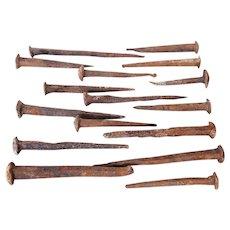 Original 18th Century Portuguese Cast Iron Big Nails, Rustic, Primitive, Ancient, Rusty, Baroque