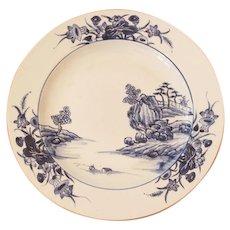 Antique 18th Century Qianlong Porcelain Plate, Blue Decoration Garden Landscape