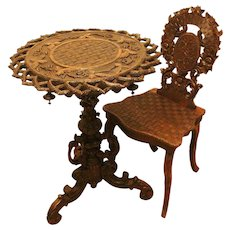 19th Century Black Forest, Table and Chair