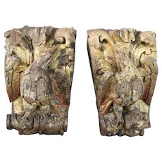 18th Century, Exceptional Portuguese Baroque Birds, Pair of Wall Bracket Shelf from an Altar, Rococo Wood Carved Gilt, Rare, Religious