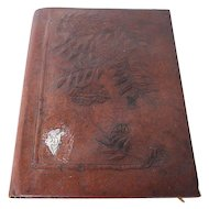 Early 20th Century Art Deco Brown Leather And Silver A4 Writing Folder