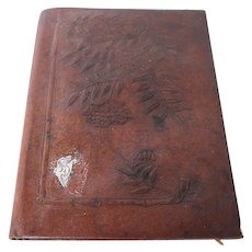 Original Early 20th Century Art Deco Brown Leather And Silver A4 Writing Folder