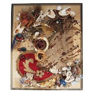 Vintage Portuguese Mixed-media Modernism Collage Artwork with a Bird