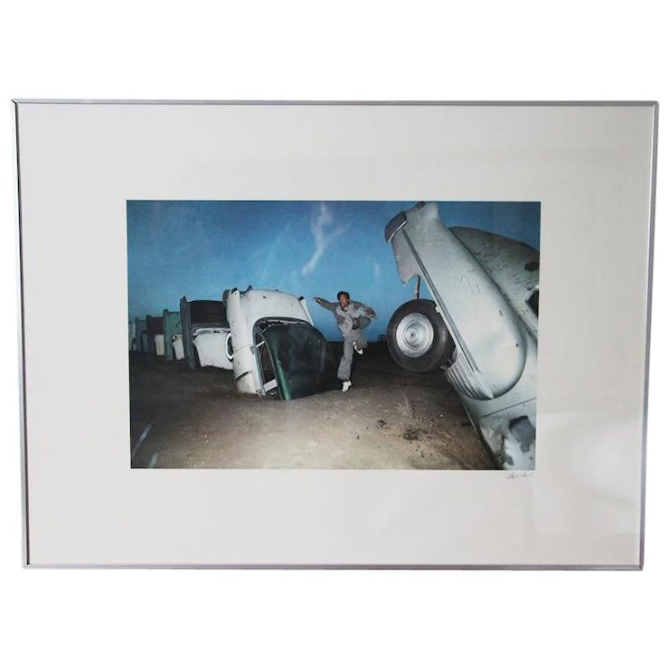 Vintage Framed Signed Photography Usa Route 66 The Cadillac Ranch