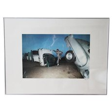 Vintage Framed Signed Photography, USA Route 66, The Cadillac Ranch, Texas Landmark, Fine Art Photo