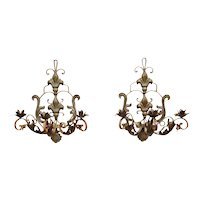 Pair of Antique French Chateau Fleur de Lis Wrought Iron Three-Arm Wall Sconces