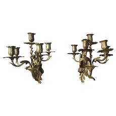 Antique Pair of French Gilt Bronze Sconces Louis XV Style Five-armed Wall Candelabra