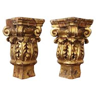 Pair of Baroque Gold Leaf Corinthian Capitals from an Altar, 18th Century, Portuguese, Religious
