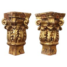 Pair of Italian Baroque 18th Century Gilt Corinthian Capitals, Carved Wood