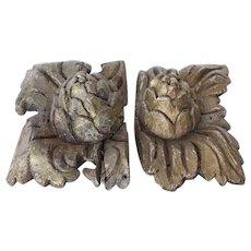 Original 18th Century Baroque / Pair of Rococo Wood Carved Gilt Ornament