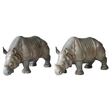 A Pair of Continental Gray Porcelain Rhinoceros Figures, Early 20th Century, Antique